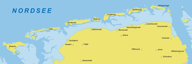 Ostfriesland in gelb und blau, auf einen Blick